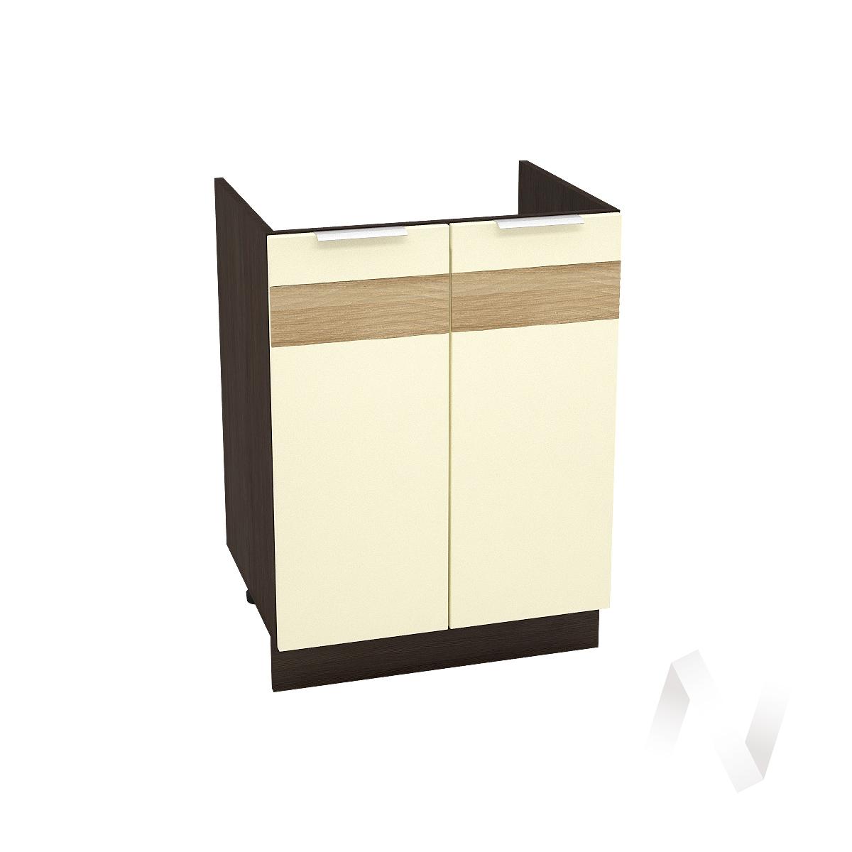 """Кухня """"Терра"""": Шкаф нижний под мойку 600, ШНМ 600 (ваниль софт/корпус венге)"""