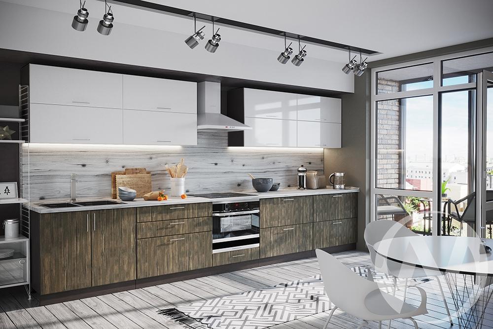 """Кухня """"Норден"""": Старое дерево/Белый глянец (корпус венге)"""