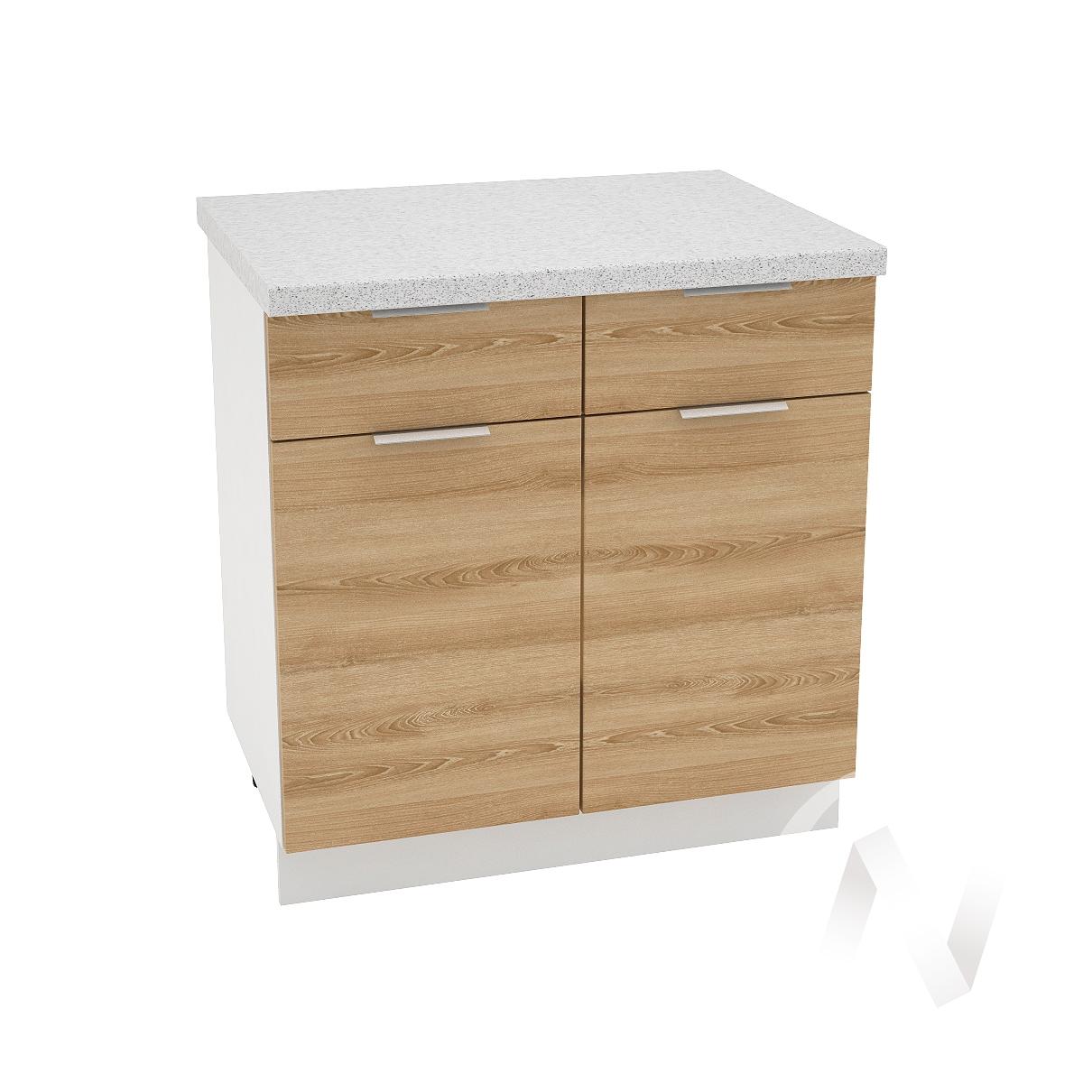 """Кухня """"Терра"""": Шкаф нижний с ящиками 800, ШН1Я 800 (ель карпатская/корпус белый)"""