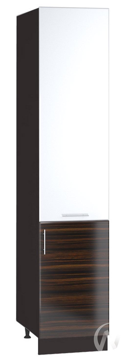 """Кухня """"Норден"""": Шкаф пенал 400, ШП 400 (эбен/белый глянец/корпус венге)"""