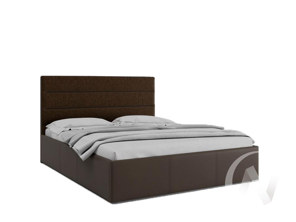 Кровать Севилья 1,6 с подъемным механизмом (кожзам коричневый/ткань коричневая)  в Томске — интернет магазин МИРА-мебель