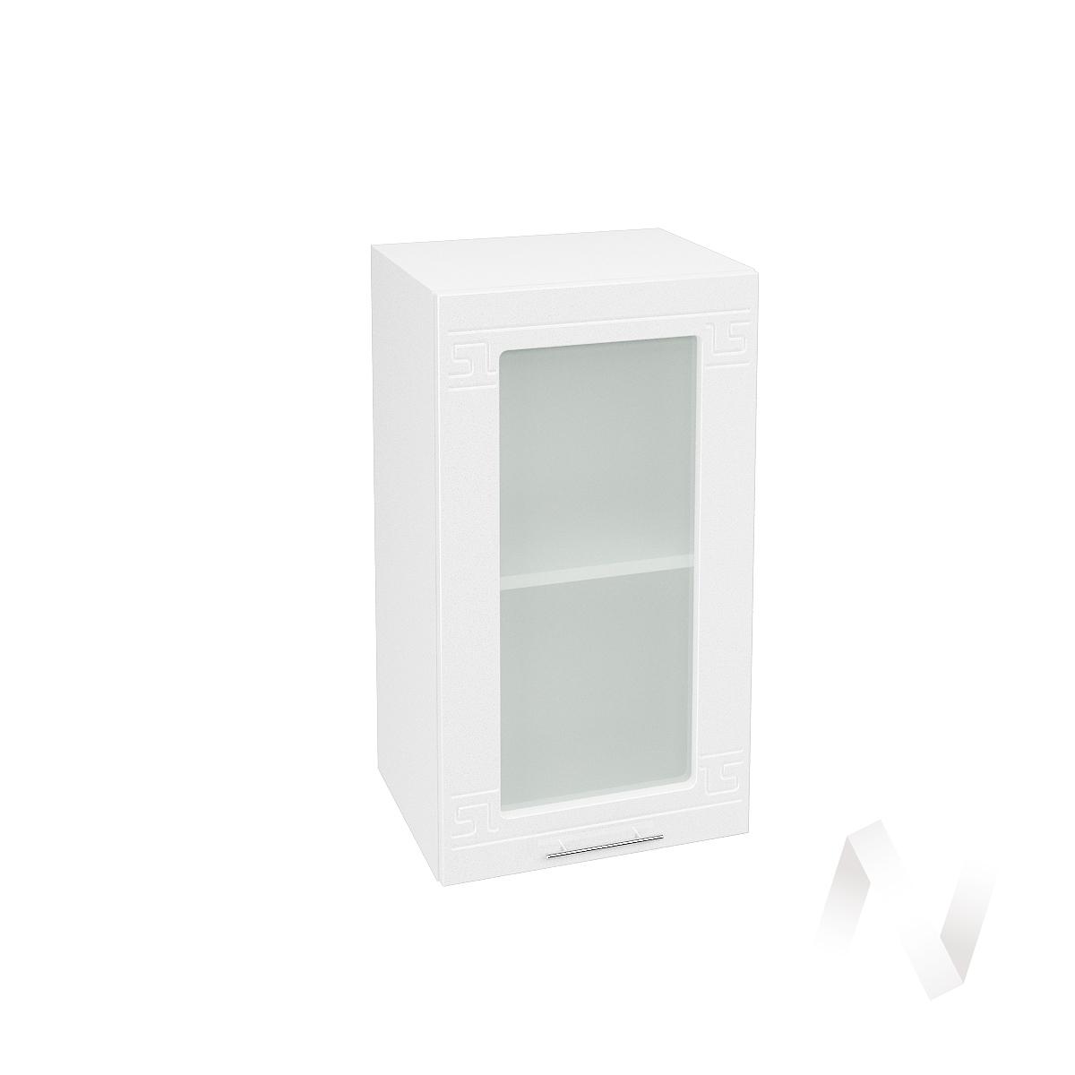 """Кухня """"Греция"""": Шкаф верхний со стеклом 400, ШВС 400 (белый металлик/корпус белый)"""