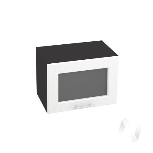 """Кухня """"Вега"""": Шкаф верхний горизонтальный со стеклом 500, ШВГС 500 (белый металлик/корпус венге)"""