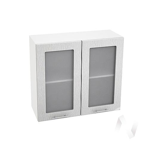 """Кухня """"Валерия-М"""": Шкаф верхний со стеклом 800, ШВС 800 (дождь серый/корпус белый)"""
