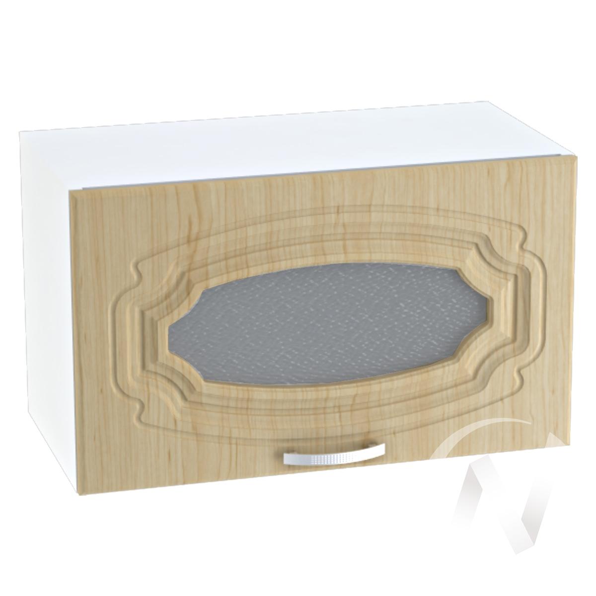 """Кухня """"Настя"""": Шкаф верхний горизонтальный со стеклом 609, ШВГС 609 (Береза/корпус белый)"""