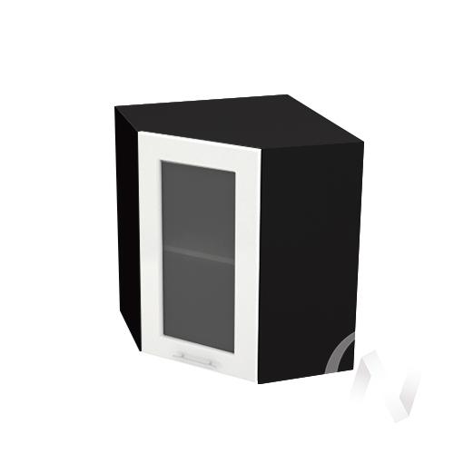 """Кухня """"Вега"""": Шкаф верхний угловой со стеклом 590, ШВУС 590 (белый металлик/корпус венге)"""