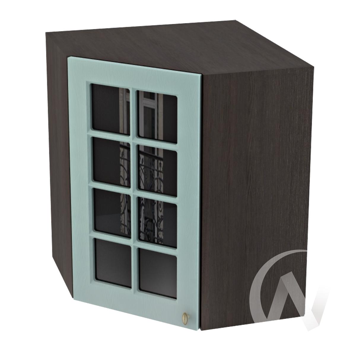 """Кухня """"Прованс"""": Шкаф верхний угловой со стеклом 590, ШВУС 590 (голубой/корпус венге)"""