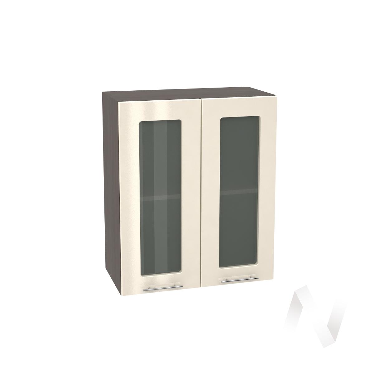 """Кухня """"Валерия-М"""": Шкаф верхний со стеклом 600, ШВС 600 (Ваниль глянец/корпус венге)"""
