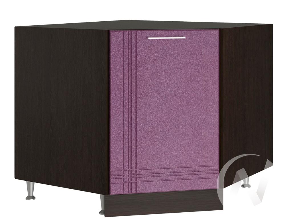 """Кухня """"Струна"""": Шкаф нижний угловой 890, ШНУ 890 (фиолетовый металлик/корпус венге)"""
