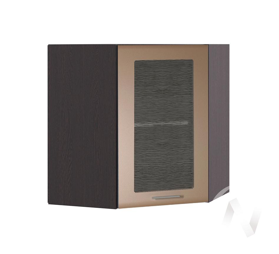 """Кухня """"Люкс"""": Шкаф верхний угловой со стеклом 590, ШВУС 590 (Шоколад матовый/корпус венге) в Новосибирске в интернет-магазине мебели kuhnya54.ru"""
