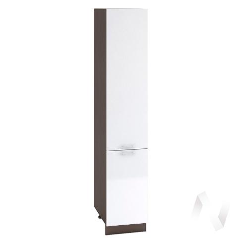 """Кухня """"Валерия-М"""": Шкаф пенал 400, ШП 400 (белый металлик/корпус венге)"""