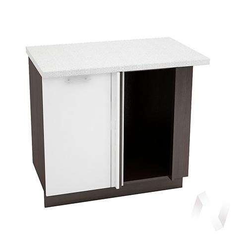 """Кухня """"Валерия-М"""": Шкаф нижний угловой 990М, ШНУ 990М (белый глянец/корпус венге)"""