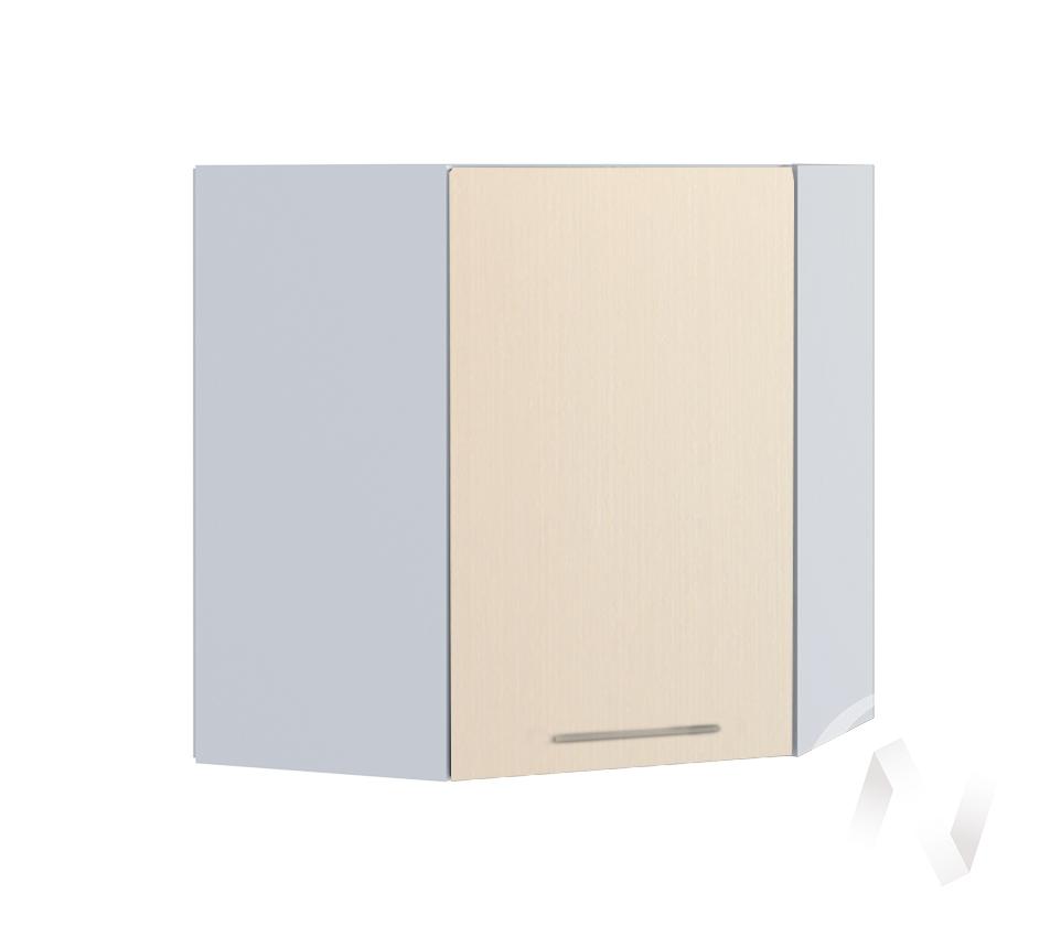"Кухня ""Люкс"": Шкаф верхний угловой 590, ШВУ 590 (Шелк жемчуг/корпус белый)"