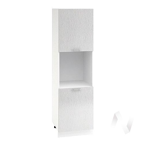 """Кухня """"Валерия-М"""": Шкаф пенал 600, ШП 600 (дождь серый/корпус белый)"""