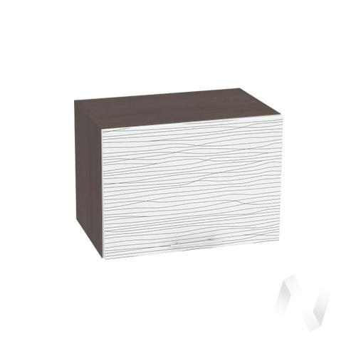 """Кухня """"Валерия-М"""": Шкаф верхний горизонтальный 500, ШВГ 500 (Страйп белый/корпус венге)"""