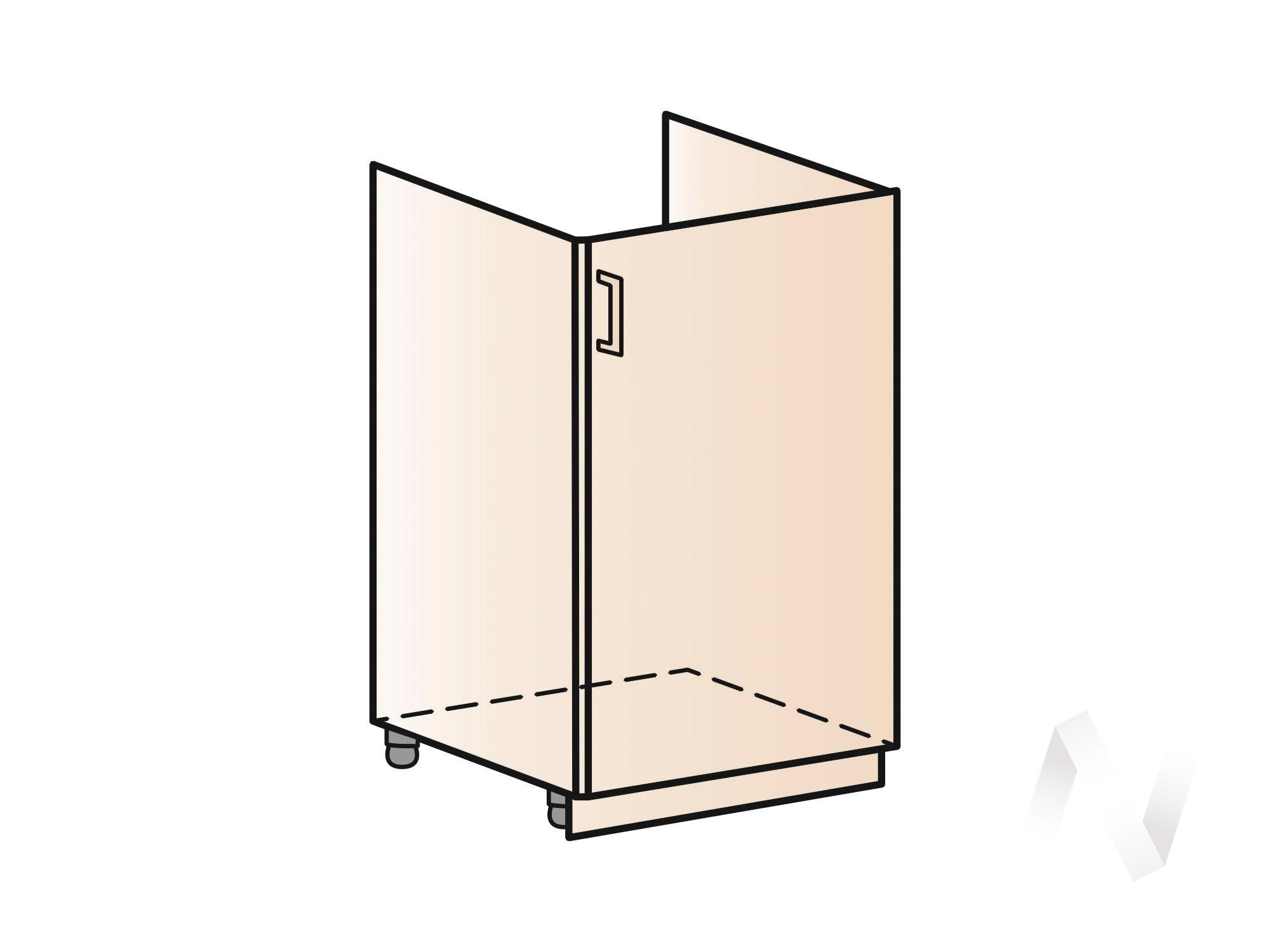 """Кухня """"Люкс"""": Шкаф нижний под мойку 500, ШНМ 500 (Шелк жемчуг/корпус белый) в Новосибирске в интернет-магазине мебели kuhnya54.ru"""