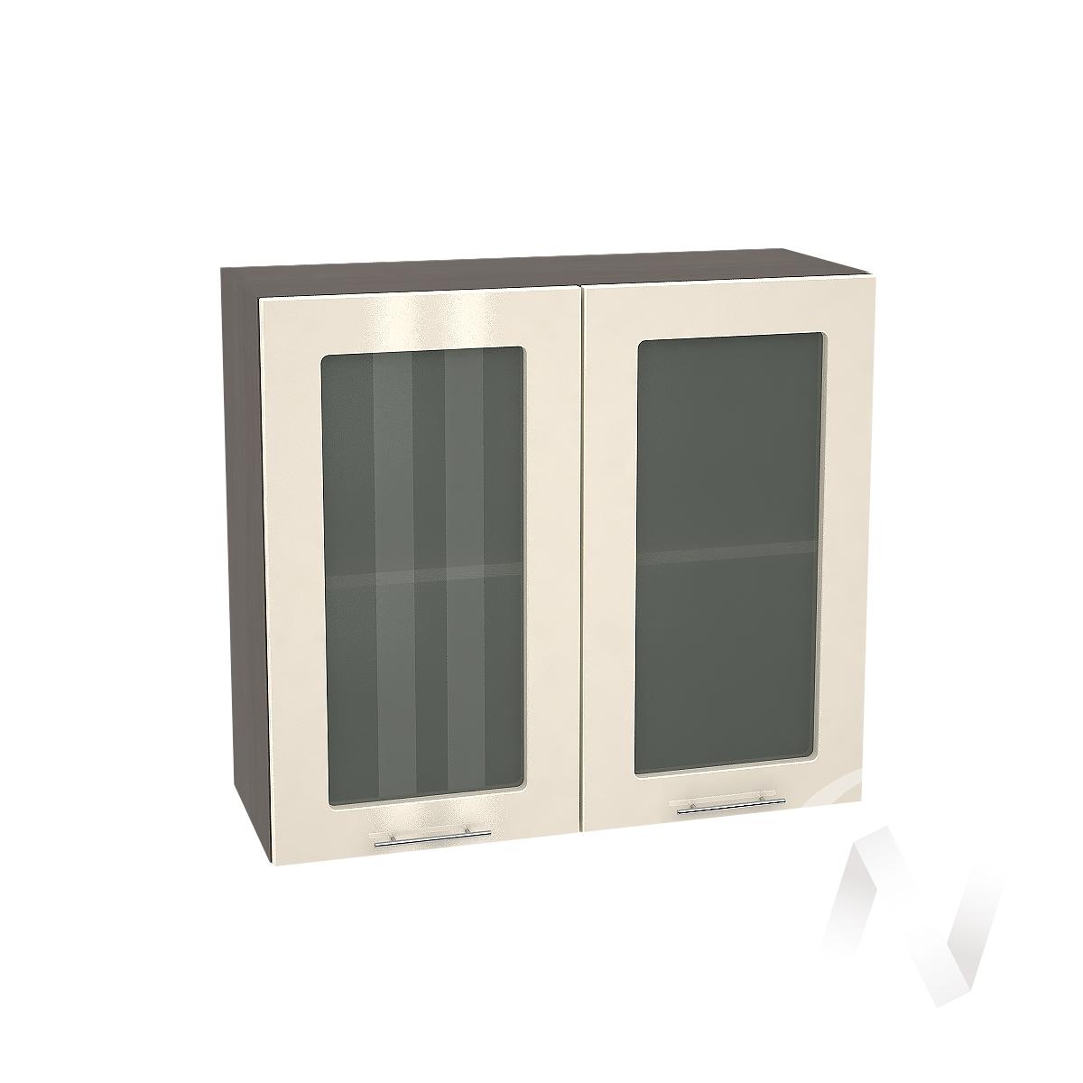 """Кухня """"Валерия-М"""": Шкаф верхний со стеклом 800, ШВС 800 (Ваниль глянец/корпус венге)"""