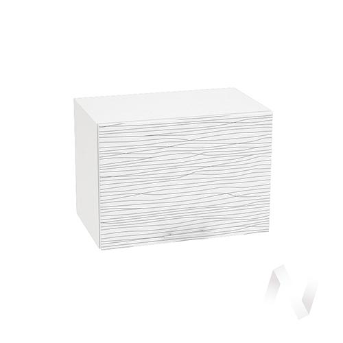 """Кухня """"Валерия-М"""": Шкаф верхний горизонтальный 500, ШВГ 500 (Страйп белый/корпус белый)"""