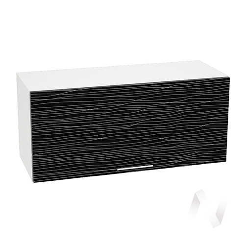 """Кухня """"Валерия-М"""": Шкаф верхний горизонтальный 800, ШВГ 800 (Страйп черный/корпус белый)"""