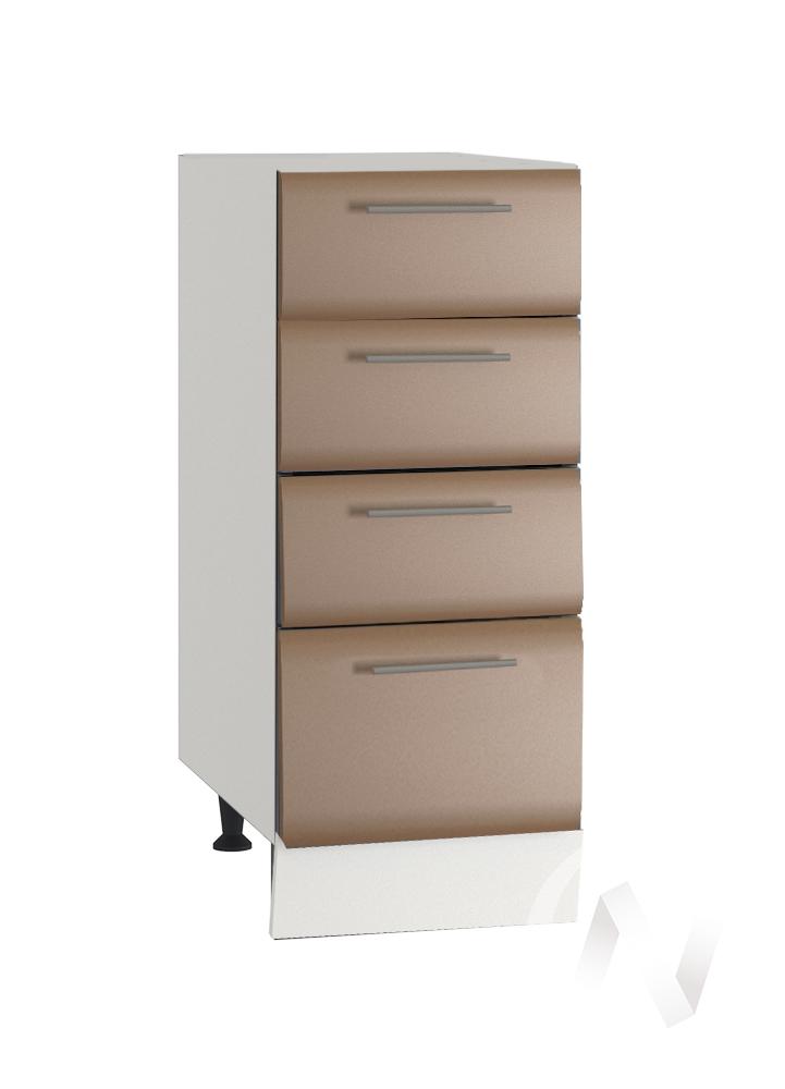 """Кухня """"Люкс"""": Шкаф нижний с 4-мя ящиками 300, ШН4Я 300 (Шоколад матовый/корпус белый)"""