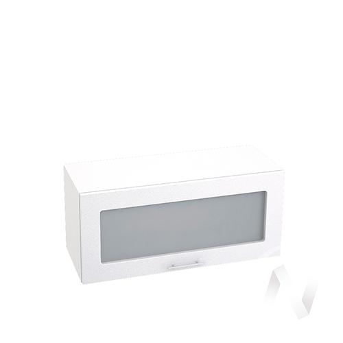 """Кухня """"Валерия-М"""": Шкаф верхний горизонтальный со стеклом 800, ШВГС 800 (бел. металлик/корпус венге)"""
