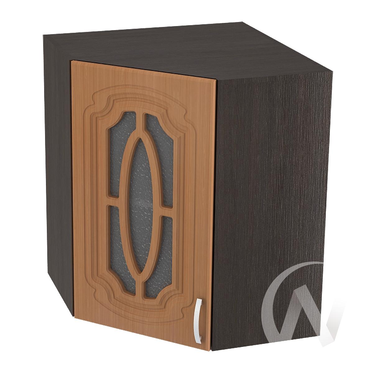 """Кухня """"Настя"""": Шкаф верхний угловой со стеклом 590, ШВУС 590 (Орех миланский/корпус венге)"""