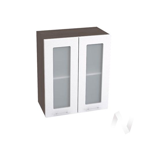 """Кухня """"Валерия-М"""": Шкаф верхний со стеклом 600, ШВС 600 (белый металлик/корпус венге) в Новосибирске в интернет-магазине мебели kuhnya54.ru"""