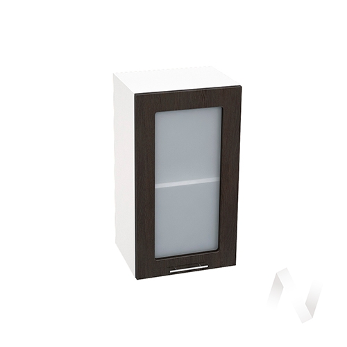 """Кухня """"Валерия-М"""": Шкаф верхний со стеклом 400, ШВС 400 (венге/корпус белый)"""