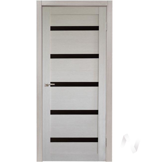 Дверь царговая серия Стиль-5, 60, ост, лиственница кремовая, стекло черное