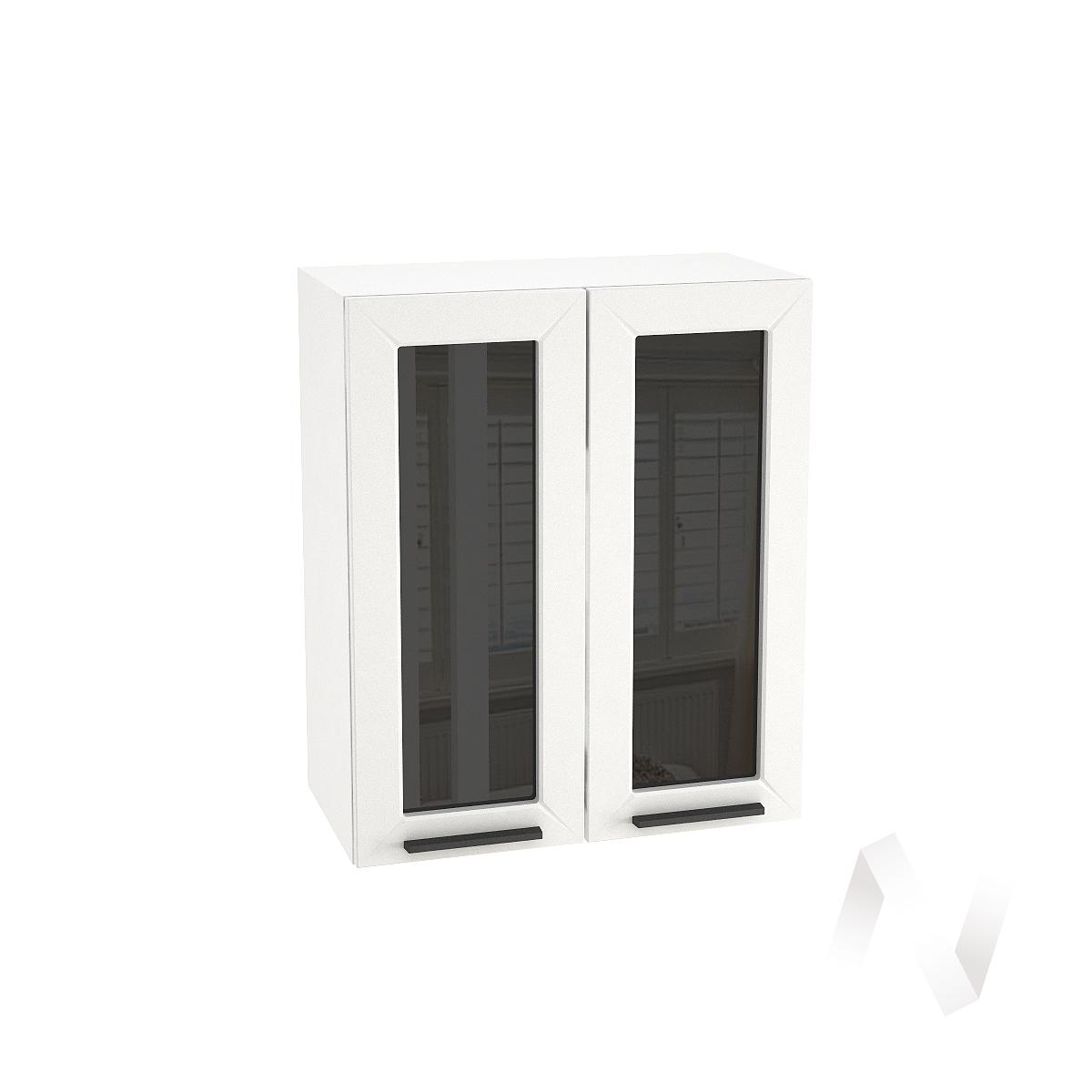 "Кухня ""Глетчер"": Шкаф верхний со стеклом 600, ШВС 600 (Айленд Силк/корпус белый)"