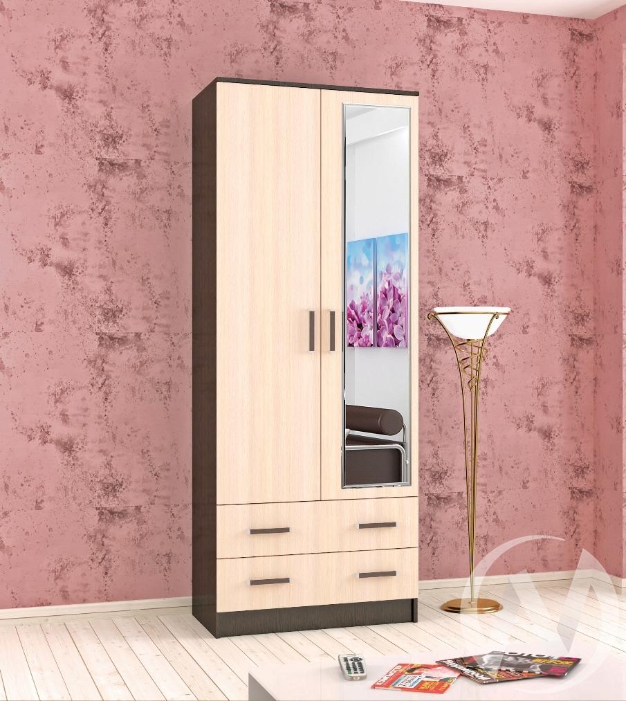 Шкаф комбинированный Лагуна 0,800 с зеркалом (венге/дуб молочный)