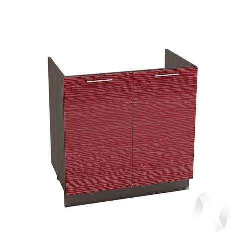 """Кухня """"Валерия-М"""": Шкаф нижний под мойку 800, ШНМ 800 (Страйп красный/корпус венге)"""