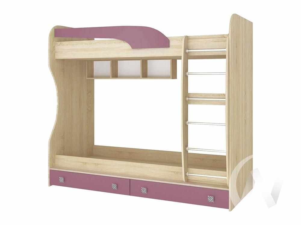 Кровать двойная Детская Колибри (дуб сонома/виола)