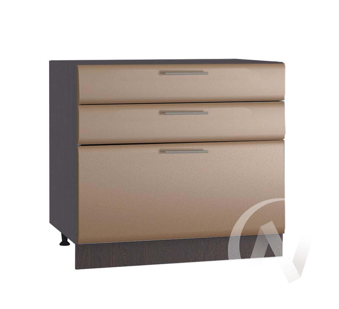 """Кухня """"Люкс"""": Шкаф нижний с 3-мя ящиками 800, ШН3Я 800 (Шоколад матовый/корпус венге)"""