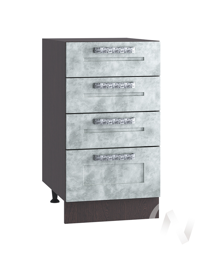 "Кухня ""Лофт"": Шкаф нижний с 4-мя ящиками 400, ШН4Я 400 (Бетон серый/корпус венге)"