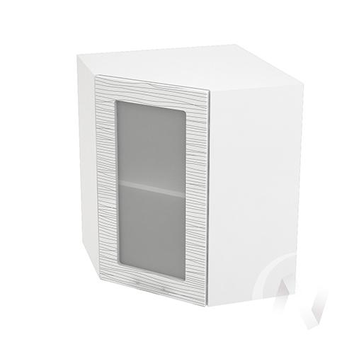 """Кухня """"Валерия-М"""": Шкаф верхний угловой со стеклом 590, ШВУС 590 (Страйп белый/корпус белый)"""
