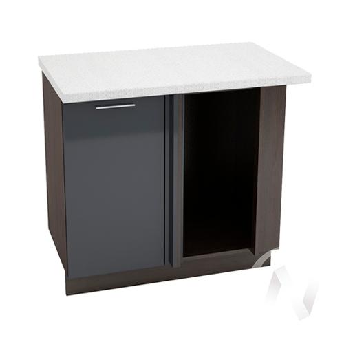 """Кухня """"Валерия-М"""": Шкаф нижний угловой 990М, ШНУ 990М (Антрацит глянец/корпус венге)"""