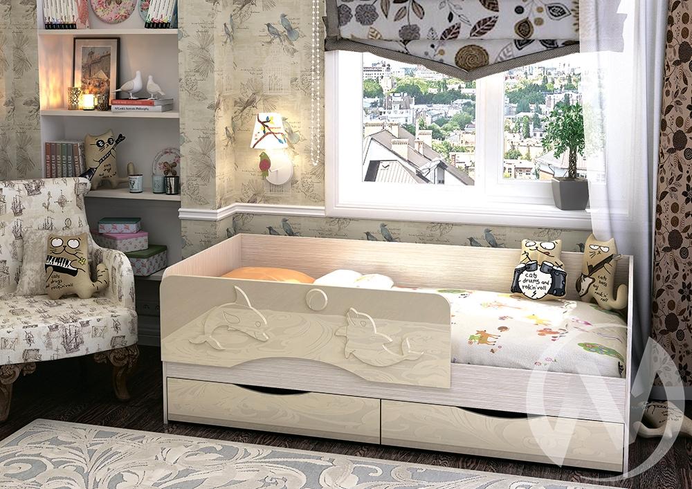 """Кровать """"Алиса 1,4"""" (Ваниль глянец)  в Томске — интернет магазин МИРА-мебель"""