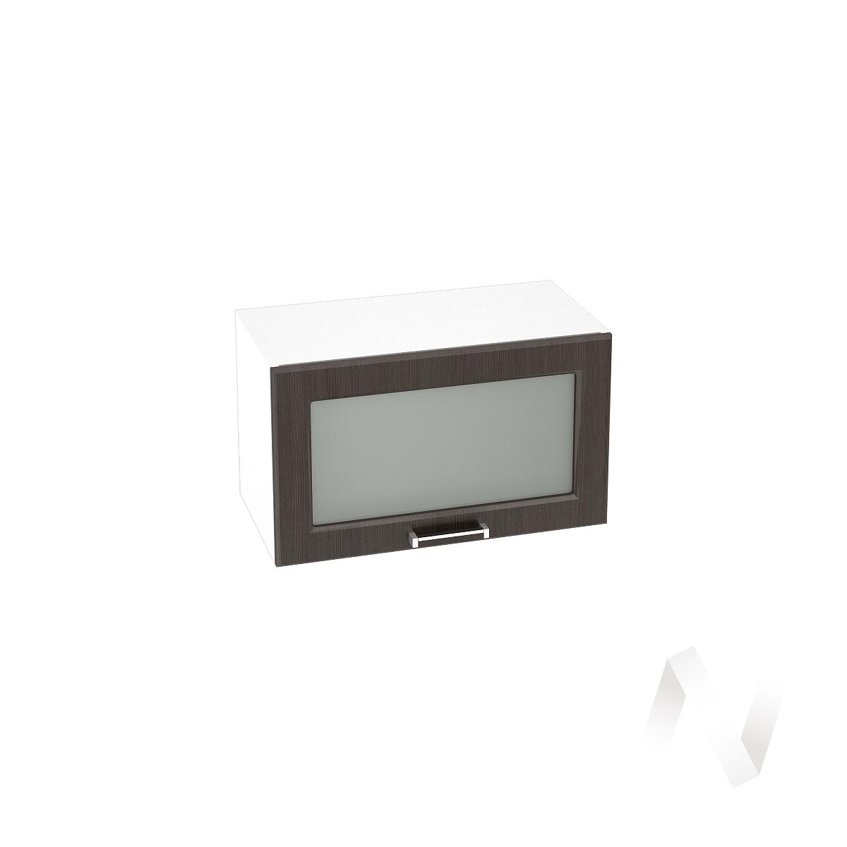 """Кухня """"Прага"""": Шкаф верхний горизонтальный со стеклом 600, ШВГС 600 (венге/корпус белый)"""
