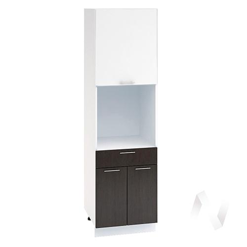 """Кухня """"Валерия-М"""": Шкаф пенал с ящиком 600, ШП1Я 600 (белый глянец/венге/корпус белый)"""