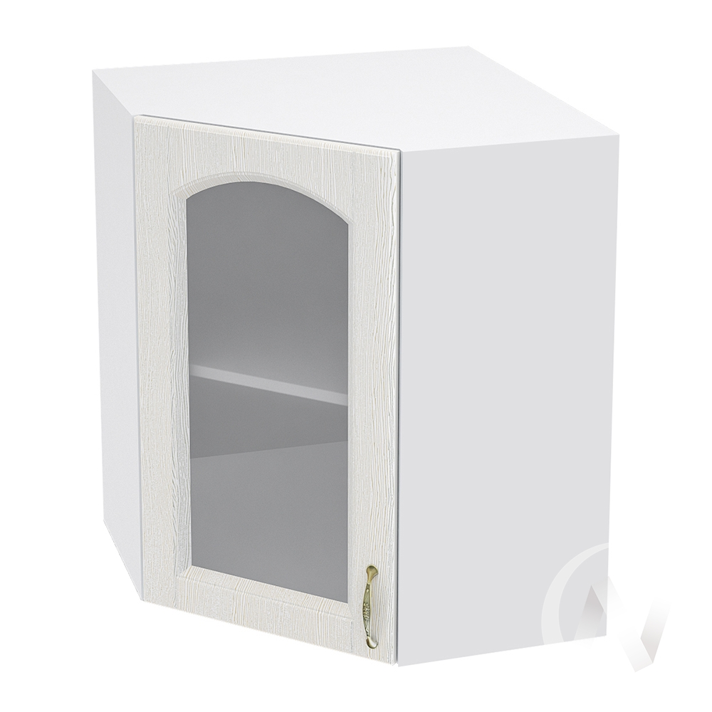 """Кухня """"Верона"""": Шкаф верхний угловой со стеклом 590 левый, ШВУС 590 (ясень золотистый/корпус белый)"""