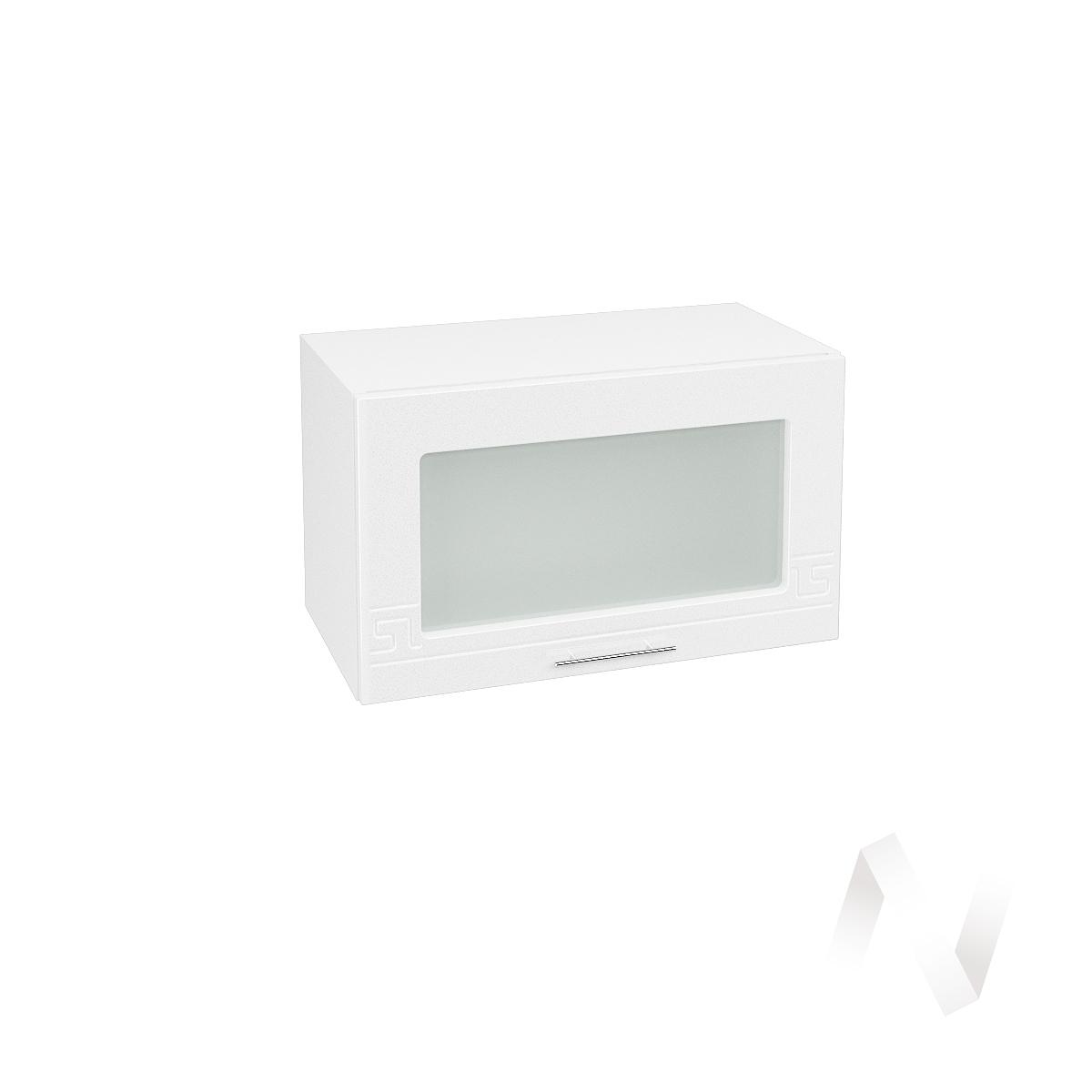"""Кухня """"Греция"""": Шкаф верхний горизонтальный со стеклом 600, ШВГС 600 (белый металлик/корпус белый)"""