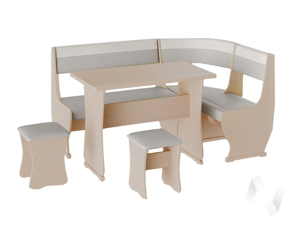 Кухонный уголок Уют 1 универсал кожзам (дуб молочный/серый,белый)  в Томске — интернет магазин МИРА-мебель