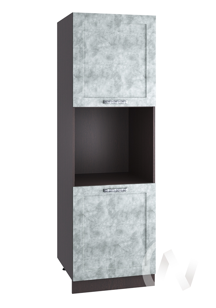 """Кухня """"Лофт"""": Шкаф пенал 600, ШП 600 (Бетон серый/корпус венге)"""