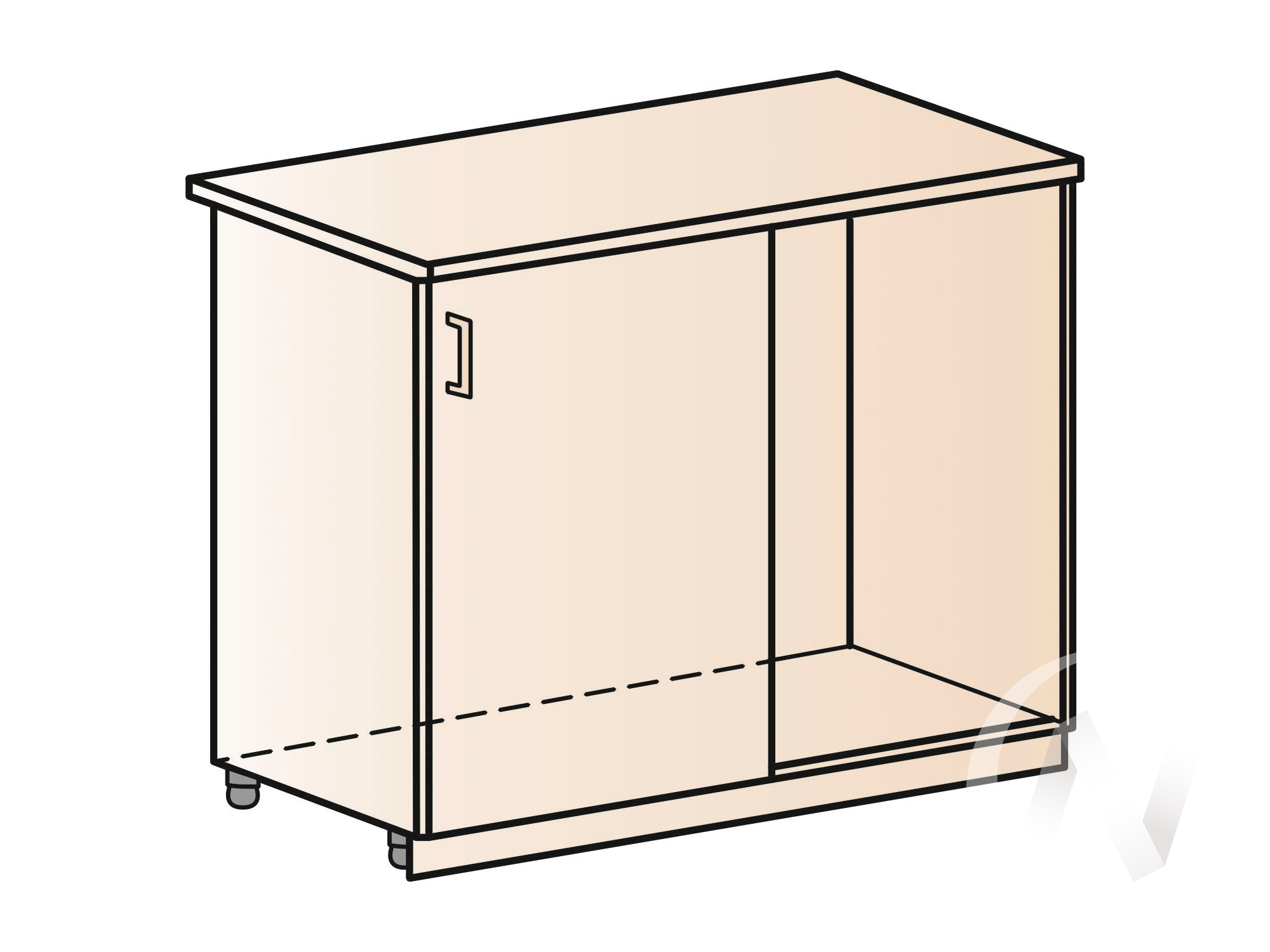 """Кухня """"Вега"""": Шкаф нижний угловой 990М, ШНУ 990М (салатовый металлик/корпус венге) в Новосибирске в интернет-магазине мебели kuhnya54.ru"""