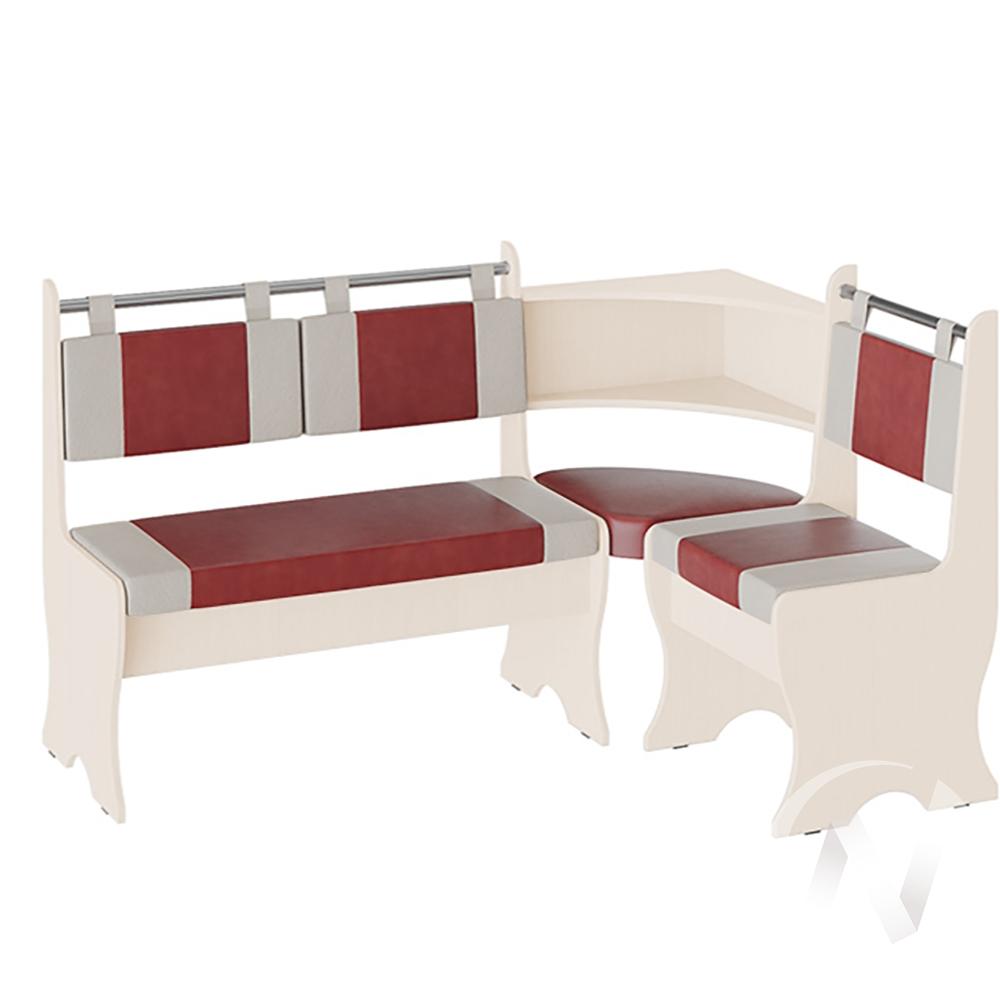 Скамья угловая Дельта кожзам (дуб молочный/красный,белый)  в Томске — интернет магазин МИРА-мебель