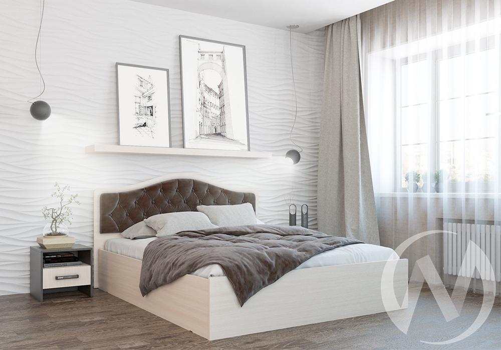 """Кровать """"Дели 1,4"""" ортопед с подъёмным механизмом (Дуб молочный/Велюр шоколад)"""