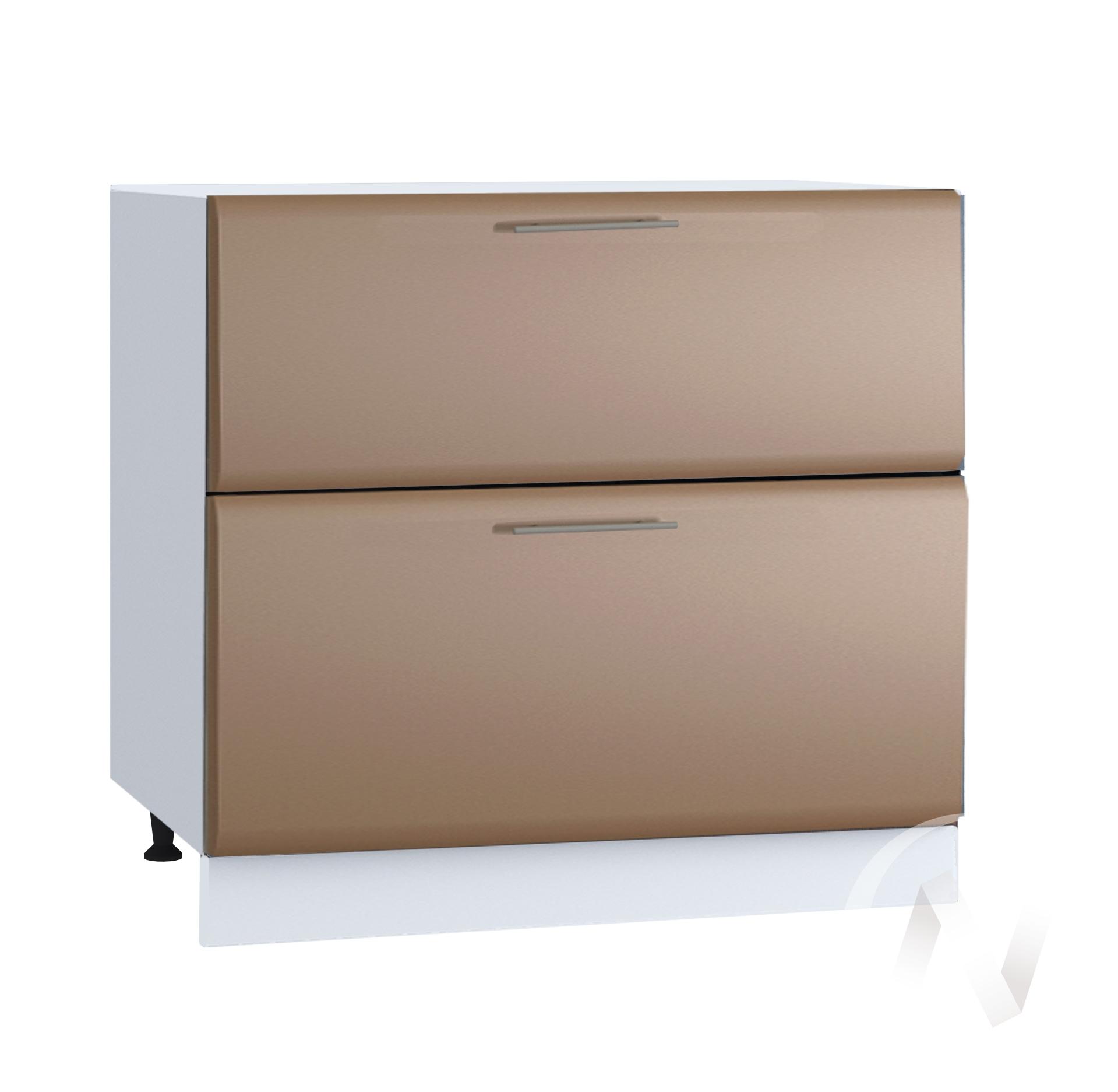 """Кухня """"Люкс"""": Шкаф нижний с 2-мя ящиками 800, ШН2Я 800 (Шоколад матовый/корпус белый)"""