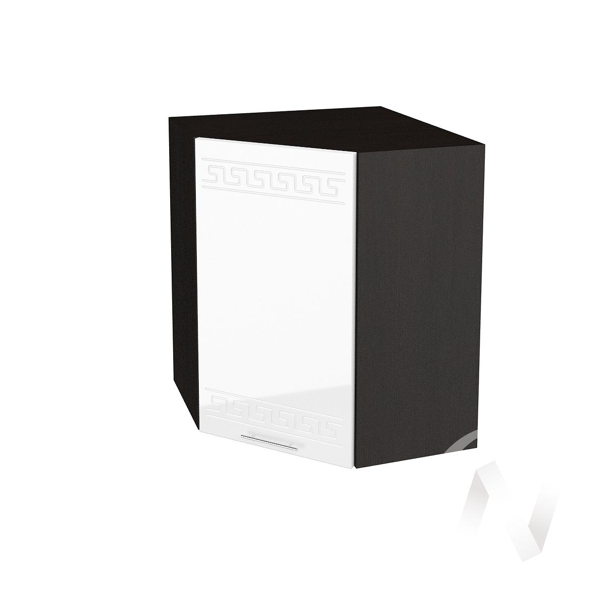 """Кухня """"Греция"""": Шкаф верхний угловой 590, ШВУ 590 (белый металлик/корпус венге)"""
