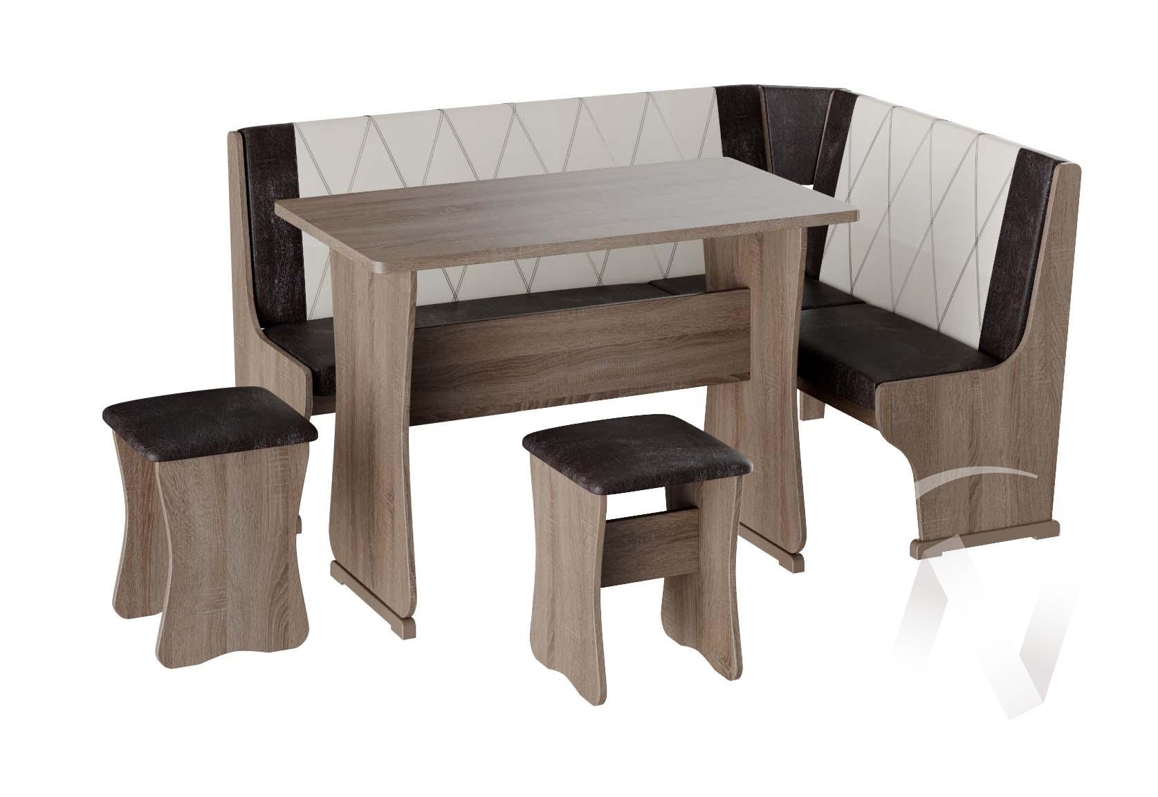 Кухонный уголок Гамма тип 2 кожзам (дуб сонома трюфель/шоколад,бежевый)  в Томске — интернет магазин МИРА-мебель